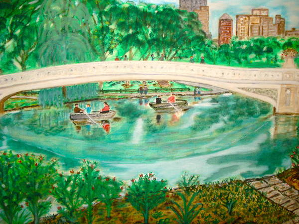 Painting - Bow Bridge Central Park by Felix Zapata
