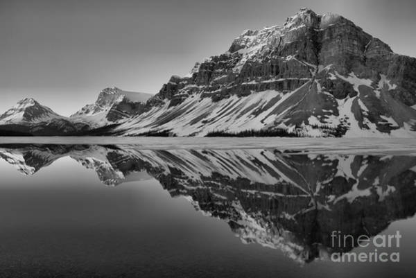 Photograph - Bow Lake Sunrise Reflections Black And White by Adam Jewell
