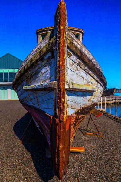 Dry Dock Photograph - Bow Of Old Worn Boat by Garry Gay