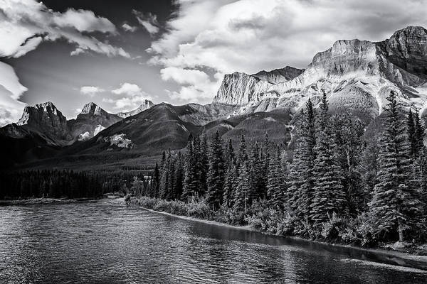 Photograph - Bow River And Three Sisters Canmore Bw by Joan Carroll