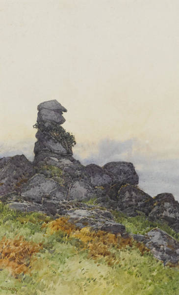 Moored Painting - Bowermans Nose, Manaton Dartmoor by Frederick John Widgery