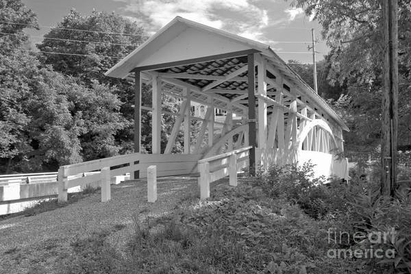 Osterburg Photograph - Bowers's Covered Bridge Black And White by Adam Jewell
