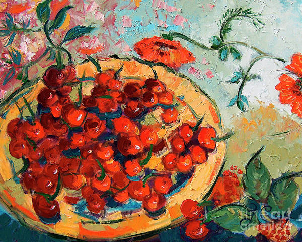 Painting - Bowl Of Cherries And Poppies by Ginette Callaway