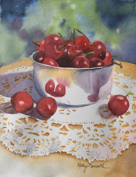 Doily Wall Art - Painting - Bowl Of Cherries by Kathy Nesseth