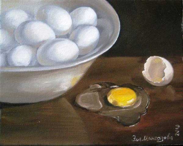 Broken Egg Painting - Bowl Of Eggs Minus One by Eleonora Mingazova