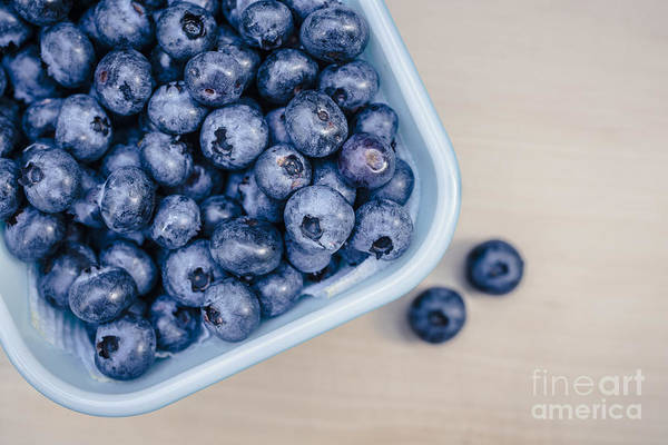 Blue Berry Photograph - Bowl Of Fresh Blueberries by Edward Fielding