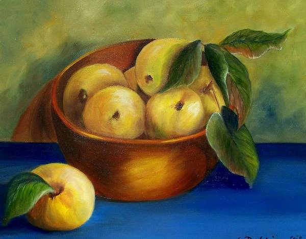 Painting - Bowl Of Golden Delicious Apples by Susan Dehlinger