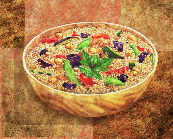 Painting - Wooden Bowl With Quinoa Watercolor by Irina Sztukowski