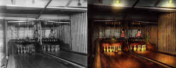 Photograph - Bowling - Life In The Gutter 1910 - Side By Side by Mike Savad