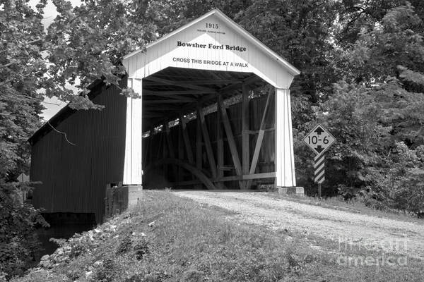 Photograph - Bowsher Ford Covered Bridge Black And White by Adam Jewell