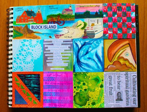 Mixed Media - Box-a-day Block Island Page by Polly Castor