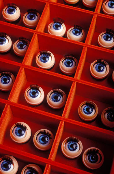 Compartments Photograph - Box Full Of Doll Eyes by Garry Gay