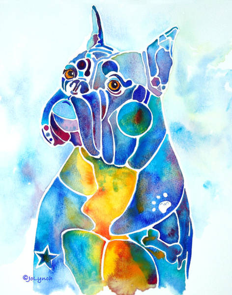 Painting - Boxer Dog Breed Blues by Jo Lynch