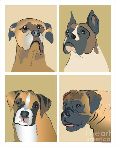 Boxer Dogs 4 Up Art Print