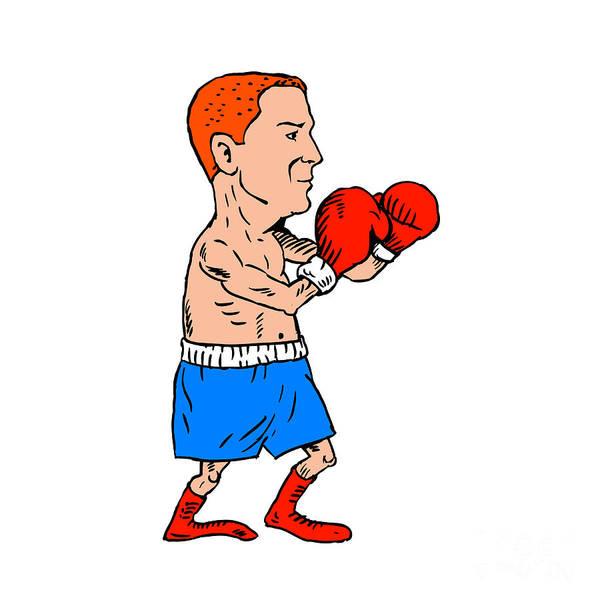 Sportsman Digital Art - Boxer Fighting Stance Cartoon by Aloysius Patrimonio