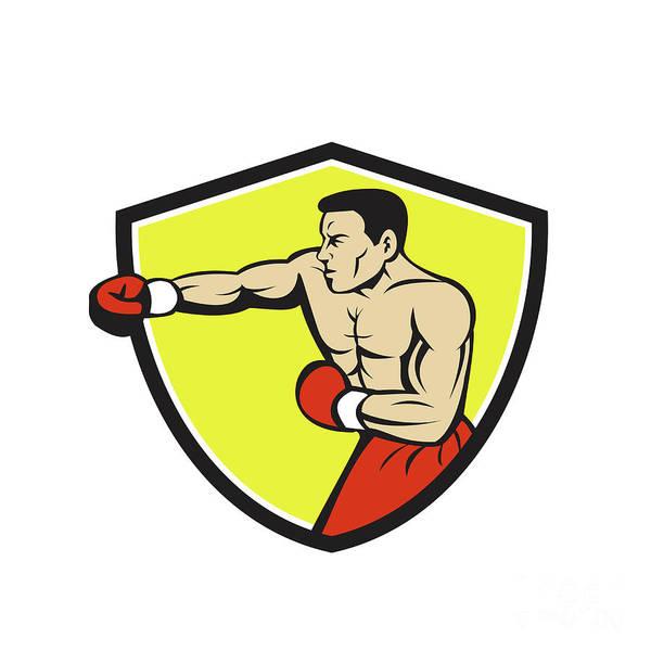Sportsman Digital Art - Boxer Jabbing Punching Crest Cartoon by Aloysius Patrimonio