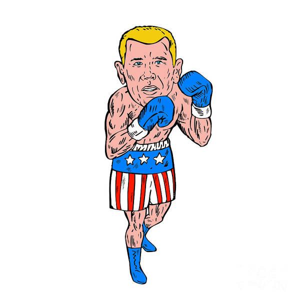 Sportsman Digital Art - Boxer Pose Usa Flag Etching by Aloysius Patrimonio