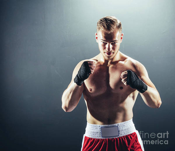 Kickboxing Photograph - Boxer Standing In Fighting Position. by Michal Bednarek