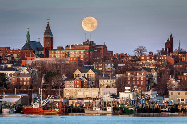 Boxing Day Moon Over Portland Maine  Art Print