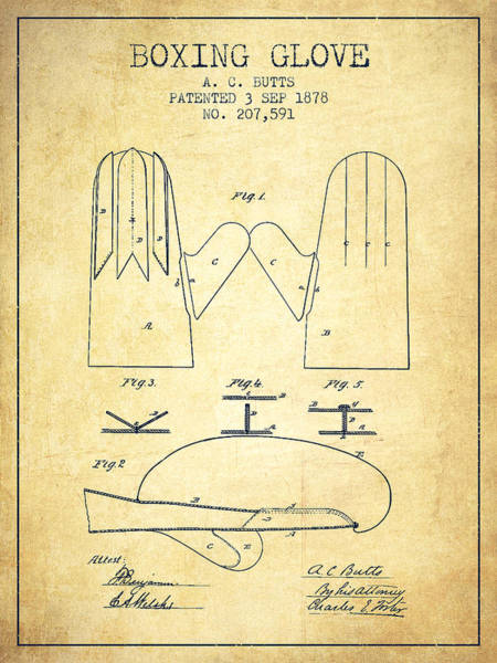 Gloves Digital Art - Boxing Glove Patent From 1878 - Vintage by Aged Pixel