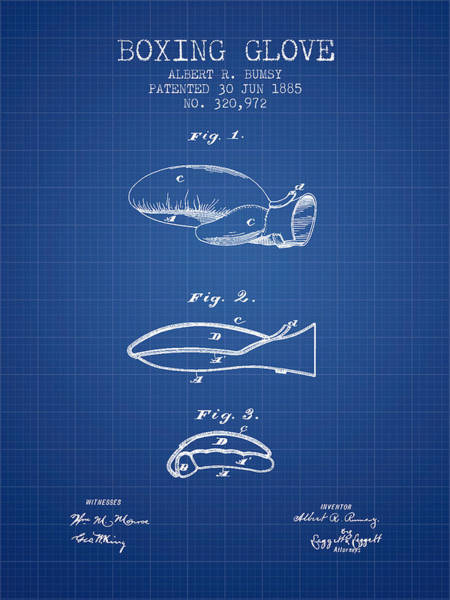 Gloves Digital Art - Boxing Glove Patent From 1885 - Blueprint by Aged Pixel