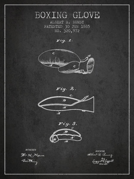 Gloves Digital Art - Boxing Glove Patent From 1885 - Charcoal by Aged Pixel