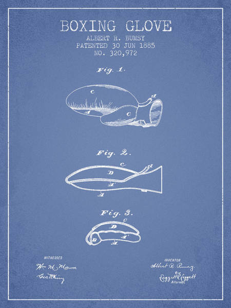 Gloves Digital Art - Boxing Glove Patent From 1885 - Light Blue by Aged Pixel