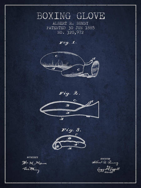 Gloves Digital Art - Boxing Glove Patent From 1885 - Navy Blue by Aged Pixel