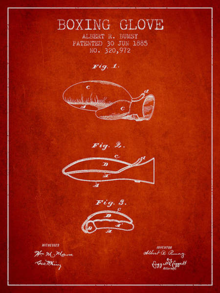 Gloves Digital Art - Boxing Glove Patent From 1885 - Red by Aged Pixel