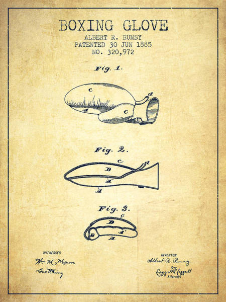Gloves Digital Art - Boxing Glove Patent From 1885 - Vintage by Aged Pixel