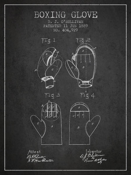 Gloves Digital Art - Boxing Glove Patent From 1889 - Charcoal by Aged Pixel