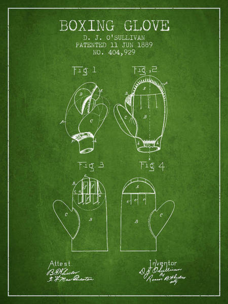 Wall Art - Digital Art - Boxing Glove Patent From 1889 - Green by Aged Pixel