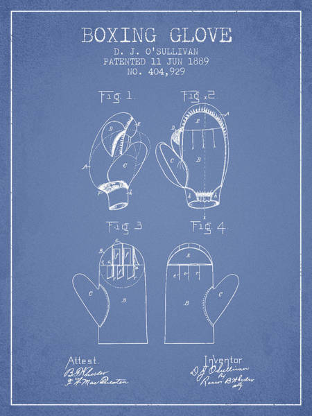 Wall Art - Digital Art - Boxing Glove Patent From 1889 - Light Blue by Aged Pixel