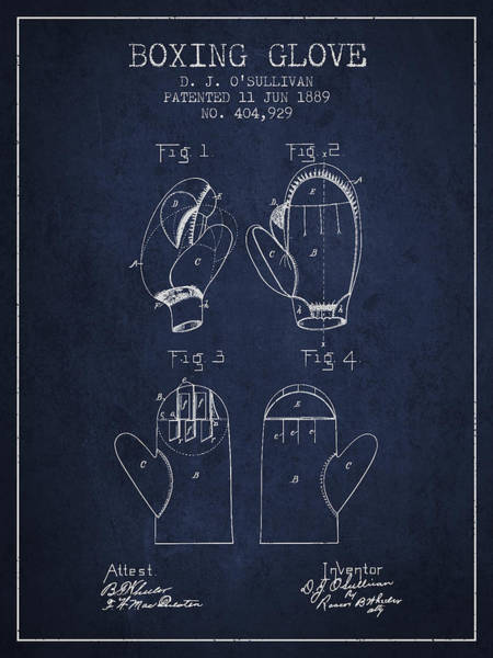 Wall Art - Digital Art - Boxing Glove Patent From 1889 - Navy Blue by Aged Pixel