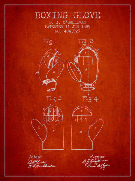 Wall Art - Digital Art - Boxing Glove Patent From 1889 - Red by Aged Pixel