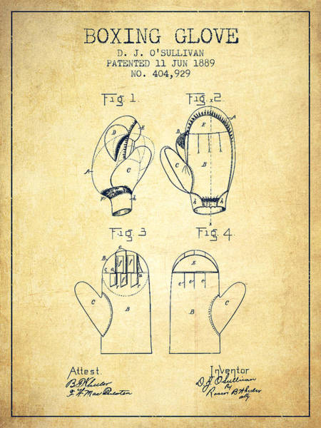 Wall Art - Digital Art - Boxing Glove Patent From 1889 - Vintage by Aged Pixel