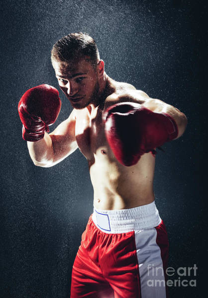 Kickboxing Photograph - Boxing Man Ready To Fight In The Rain. by Michal Bednarek