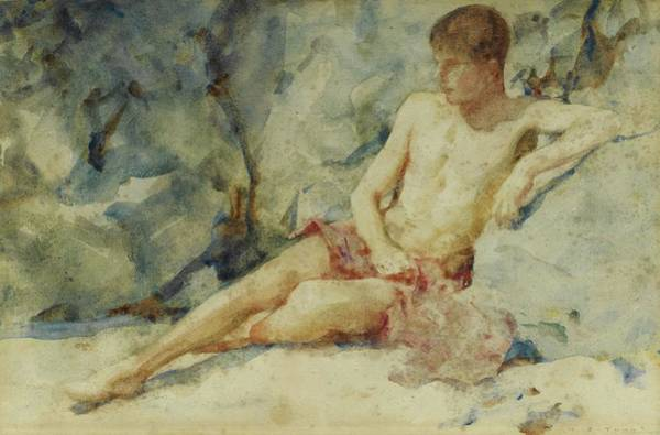 Painting - Boy Against A Rock by Henry Scott Tuke