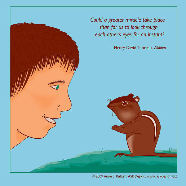 Pastel - Boy And Chipmunk - Thoreau Quote by Anne Katzeff