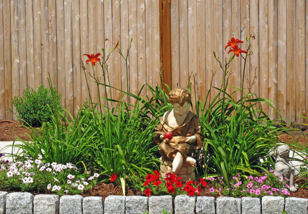 Wall Art - Photograph - Boy And Dog In Garden by Barbara McDevitt