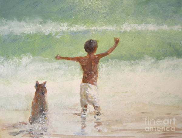 Happy Boy Painting - Boy And Dog, Lifeguard by Lincoln Seligman