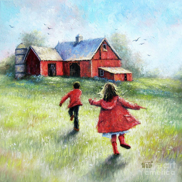 Wall Art - Painting - Boy And Girl Happy At The Farm Square by Vickie Wade