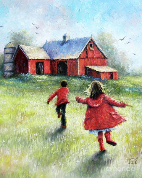 Wall Art - Painting - Boy And Girl Happy At The Farm by Vickie Wade
