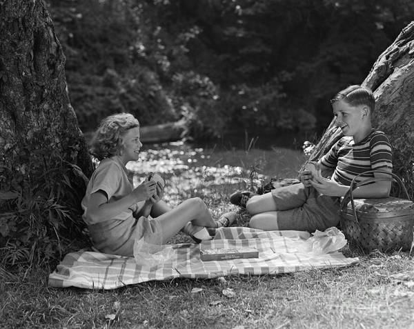 Photograph - Boy And Girl On A Picnic, C.1940s by H. Armstrong Roberts/ClassicStock