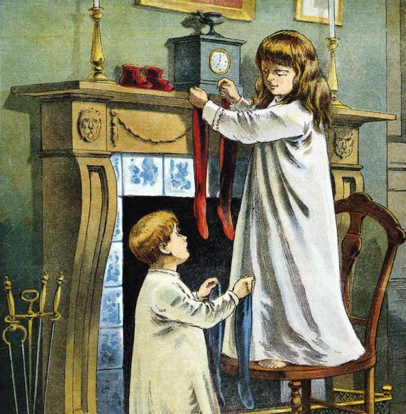 Wall Art - Painting - Boy And Girl Place Stockings On Their Fireplace Mantle On Christmas Eve by William Roger Snow