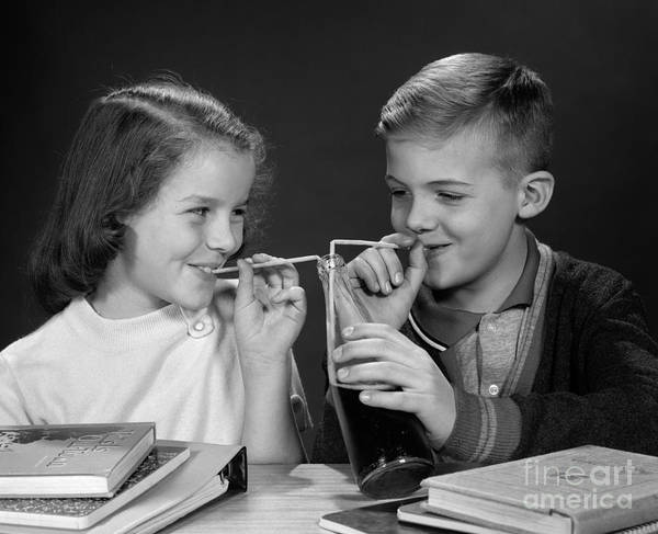 Photograph - Boy And Girl Sharing Soda, C. 1960s by H. Armstrong Roberts/ClassicStock