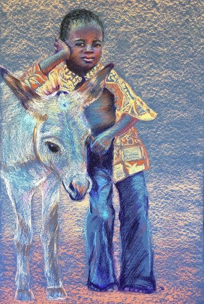 Wall Art - Painting - Boy And His Donkey In Burkina Faso  by Susan Brooks