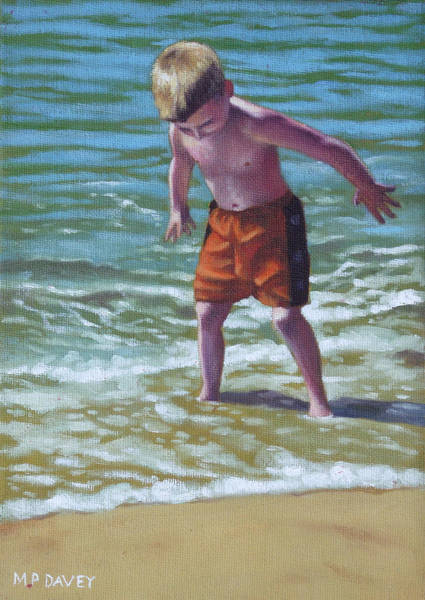 Painting - boy at Bournemouth beach by Martin Davey