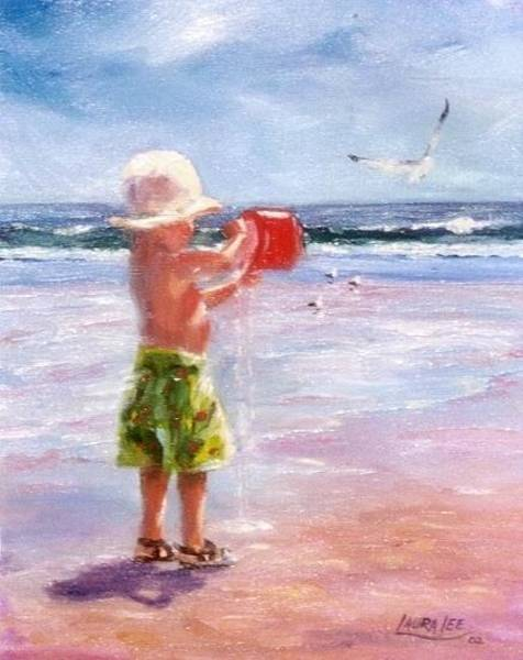 Coast Line Painting - Boy At Play by Laura Lee Zanghetti