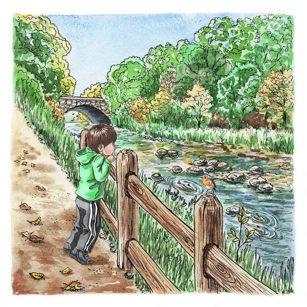 Happy Boy Painting - Boy At The Creek by Irina Sztukowski